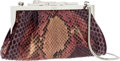 Luxury Accessories:Bags, Cartier Pink & Purple Python Evening Bag with Silver PantherClosure. ...
