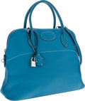 Luxury Accessories:Bags, Hermes 37cm Blue Jean Clemence Leather Mou Bolide Bag with Palladium Hardware. ...