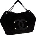 Luxury Accessories:Bags, Chanel Black Quilted Textured Microfiber Tote with Oversize Patent Leather CC Logo. ...