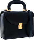 Luxury Accessories:Bags, Lana Marks Navy Lizard Lunchbox Bag with Shoulder Strap. ...