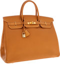 Luxury Accessories:Bags, Hermes 40cm Vache Naturelle Leather Birkin Bag with Gold Hardware....