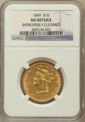 Liberty Eagles, 1849 $10 -- Improperly Cleaned -- NGC Details. AU. NGC Census:(99/379). PCGS Population (59/104). Mintage: 653,618. Nu...