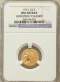 Indian Quarter Eagles, 1912 $2 1/2 -- Improperly Cleaned -- NGC Details. Unc. NGC Census:(122/6240). PCGS Population (55/2839). Mintage: 616,...