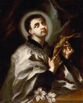 Fine Art - Painting, European:Antique  (Pre 1900), NEAPOLITAN SCHOOL (First Quarter 17th Century). St. Dominic witha Crucifix. Oil on canvas. 31 x 24-1/2 inches (78.7 x 6...