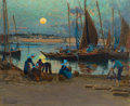 Fine Art - Painting, European:Antique  (Pre 1900), MATHURIN JANSSAUD (French, 1857-1940). Moonrise Over the Port,Concarneau. Pastel on paper. 17-1/2 x 21-1/2 inches (44.5...