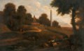 Fine Art - Painting, European:Antique  (Pre 1900), CONTINENTAL SCHOOL (18th Century). Italianate Landscape withShepherds and Shepherdesses amidst Ruins. Oil on canvas . 4...
