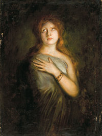 Attributed to FRANZ SERAPH VON LENBACH (German, 1836-1904) A Red-Haired Beauty, circa 1890 Oil on ca