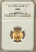 Commemorative Gold: , 1926 $2 1/2 Sesquicentennial MS62 NGC. NGC Census: (1194/5516).PCGS Population (1372/8834). Mintage: 46,019. Numismedia Ws...