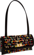 Luxury Accessories:Bags, Chanel Multicolor Velour & Black Patent Leather Shoulder Bag....