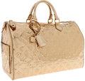 Luxury Accessories:Bags, Louis Vuitton Metallic Gold Monogram Patent Leather Miroir Speedy35 Bag . ...