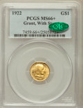 Commemorative Gold, 1922 G$1 Grant With Star MS66+ PCGS. CAC. PCGS Population(598/228). NGC Census: (335/122). Mintage: 5,016. NumismediaWsl....