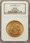 Liberty Double Eagles: , 1873 $20 Open 3 AU58 NGC. NGC Census: (2221/3702). PCGS Population(718/2870). Numismedia Wsl. Price for problem free NGC/...