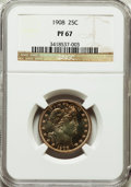 Proof Barber Quarters: , 1908 25C PR67 NGC. NGC Census: (22/5). PCGS Population (14/6). Mintage: 545. Numismedia Wsl. Price for problem free NGC/PCG...
