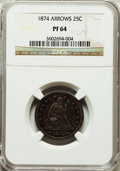 Proof Seated Quarters: , 1874 25C Arrows PR64 NGC. NGC Census: (88/74). PCGS Population(72/45). Mintage: 700. Numismedia Wsl. Price for problem fre...