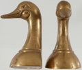 Books:Prints & Leaves, [Bookends]. Set of Two Brass Duck Bookends. Korea. Moderate wear.Small area of corrosion on one. Very good.... (Total: 2 Items)