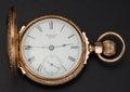 Timepieces:Pocket (post 1900), Waltham 14k Gold 18 Size Box Hinge Pocket Watch. ...