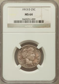 Barber Quarters: , 1913-D 25C MS64 NGC. NGC Census: (37/27). PCGS Population (38/46). Mintage: 1,450,800. Numismedia Wsl. Price for problem fr...