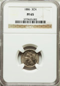 Proof Three Cent Nickels: , 1886 3CN PR65 NGC. NGC Census: (338/260). PCGS Population(371/262). Mintage: 4,290. Numismedia Wsl. Price for problemfree...