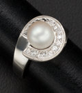 Estate Jewelry:Rings, Cultured Pearl, Diamond, White Gold Ring. ...
