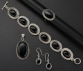 Estate Jewelry:Suites, Black Onyx, Hematite, Silver Jewelry Suite. ...
