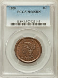 Large Cents: , 1850 1C MS65 Brown PCGS. PCGS Population (48/9). NGC Census:(107/52). Mintage: 4,426,844. Numismedia Wsl. Price for proble...