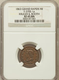 Civil War Tokens, 1863 Token Grand Rapids Michigan, Kruger & Booth XF45 NGC.F-370E-1a. ...