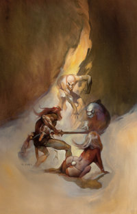 JEFFREY JONES (American, 1944-2011) Flame Winds, paperback cover, 1969 Oil on canvas board 28 x 1