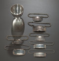 Silver Holloware, British, A ROBERT PRINGLE & SONS LATE VICTORIAN SILVER JIGGER WITH SEVENSILVER BOTTLE TAGS BY VARIOUS MAKERS. Circa 1899-1900. Marks...(Total: 8 Items)