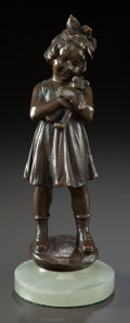 Bronze:European, A PATINATED BRONZE STATUETTE OF GIRL HOLDING A BEAR ON AN ONYXSOCLE. 20th century. Marks: Tuch, 108/145. 10-1/4 inches ...