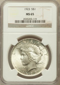 Peace Dollars: , 1923 $1 MS65 NGC. NGC Census: (34588/2997). PCGS Population(15159/1757). Mintage: 30,800,000. Numismedia Wsl. Price for pr...