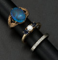 Estate Jewelry:Rings, Opal Doublet, Diamond, Sapphire, Gold Rings. ... (Total: 3 Items)