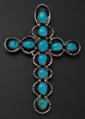 Estate Jewelry:Pendants and Lockets, Turquoise, Silver Cross Pendant. ...
