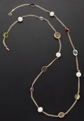 Estate Jewelry:Necklaces, Multi-Stone, Cultured Pearl, Gold Necklace. ...