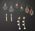 Estate Jewelry:Earrings, Multi-Stone, Gold Earrings. ... (Total: 5 Items)