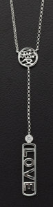 Estate Jewelry:Necklaces, Diamond, White Gold Love Necklace. ...