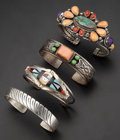 Estate Jewelry:Bracelets, Native American, Multi-Stone, Silver Bracelets. ... (Total: 4Items)