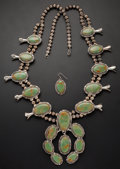Estate Jewelry:Necklaces, Turquoise, Silver Squash Blossom Necklace. ... (Total: 2 Items)