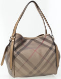 Luxury Accessories:Bags, Burberry Gold Coated Canvas Iconic Metal Check Small CanterburyTote Bag . ...