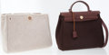 Luxury Accessories:Bags, Hermes Brown Vache Leather and Toile Herbag PM with Gold Hardware....