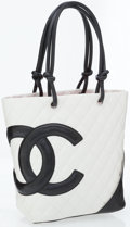 Luxury Accessories:Bags, Chanel White & Black Quilted Lambskin Leather Cambon Tote Bag....