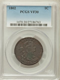 Large Cents: , 1802 1C VF30 PCGS. PCGS Population (44/215). NGC Census: (27/176).Mintage: 3,435,100. Numismedia Wsl. Price for problem fr...