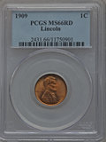 Lincoln Cents: , 1909 1C MS66 Red PCGS. PCGS Population (492/66). NGC Census:(170/5). Mintage: 72,702,616. Numismedia Wsl. Price for proble...