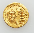 Ancients:Byzantine, Ancients: Heraclius with Heraclius Constantine (AD 610-641). AVsolidus (4.44 gm)....