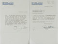 Autographs:Authors, Irving Stone Letter Signed Twice....