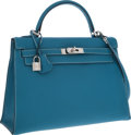 Luxury Accessories:Bags, Hermes 32cm Blue Jean Togo Leather Sellier Mou Kelly Bag with Palladium Hardware. ...