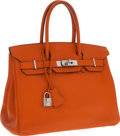 Luxury Accessories:Bags, Hermes 30cm Orange H Epsom Leather Birkin Bag with Palladium Hardware. ...