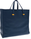 Luxury Accessories:Bags, Hermes Blue France Chevre Leather Tote Bag with Yellow Accents. ...