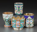 Decorative Arts, Continental, FOUR RUSSIAN SILVER GILT AND CLOISONNÉ ENAMEL VESSELS. Late19th/early 20th century. Marks: various marks. 2-1/2 inches high...(Total: 4 Items)