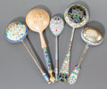Ceramics & Porcelain, Russian, A GROUP OF FIVE RUSSIAN SILVER GILT AND CLOISONNÉ ENAMEL SPOONS BYVARIOUS MAKERS. 19th/20th centuries. Marks: various marks...(Total: 5 Items)