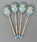 Decorative Arts, Continental, A SET OF FOUR RUSSIAN SILVER GILT AND CLOISONNÉ ENAMEL SPOONS.Probably Ivan Andreyevich Ado, circa 1900. Marks: (84, left f...(Total: 4 Items)